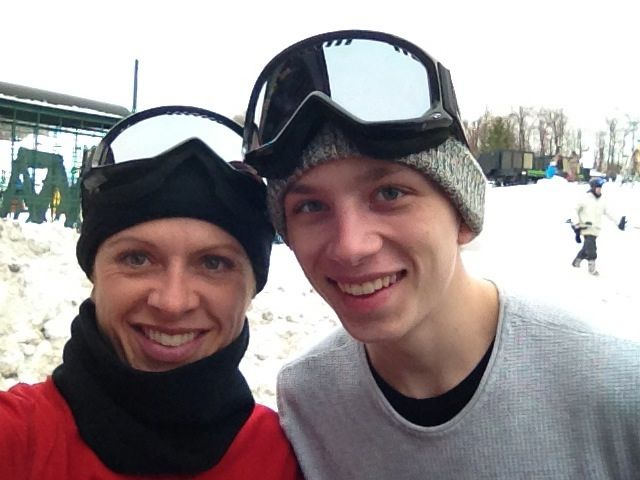 Dar and Ethan Skiing